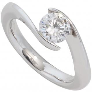 Damen Ring 585 Gold Weißgold 1 Diamant Brillant 1, 0ct. Diamantring Goldring
