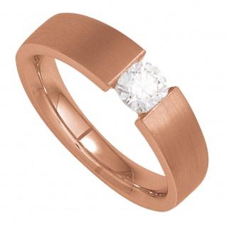 Damen Ring 585 Gold Rotgold mattiert 1 Diamant Brillant 0, 10ct. Goldring