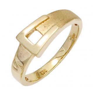 Damen Ring Gürtelschnalle 375 Gold Gelbgold mattiert Goldring