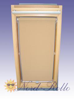Sichtschutzrollo Rollo mit Haltekrallen für Roto 735 - 6/14 beige-karamell