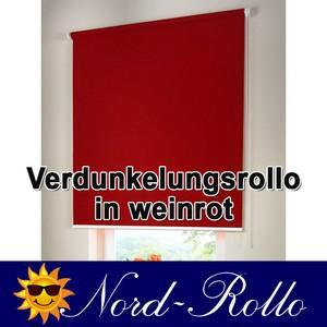 Verdunkelungsrollo Mittelzug- oder Seitenzug-Rollo 132 x 120 cm / 132x120 cm weinrot - Vorschau 1