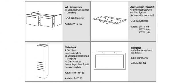 BADMÖBEL SET BADEZIMMERMÖBEL DESIGN BADSET inkl. GLAS - DOPPELWASCHTISCH 120 CM - Vorschau 2
