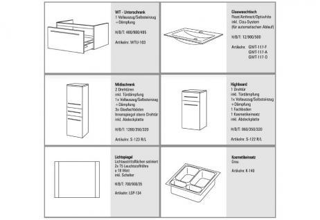 BADMÖBEL SET BADEZIMMERMÖBEL DESIGN BADSET inkl. 90 CM GLASWASCHBECKEN - Vorschau 2