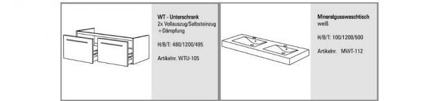 BADMÖBEL SET BADEZIMMERMÖBEL DESIGN BADSET inkl.120 CM DOPPELWASCHTISCH NEU - Vorschau 2