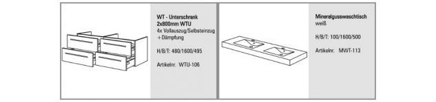 BADMÖBEL SET SALERNO BADEZIMMERMÖBEL DESIGN BADSET MIT 160 CM DOPPELWASCHTISCH - Vorschau 2