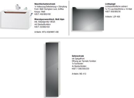 BADMÖBEL SET MONZA BADEZIMMERMÖBEL DESIGN BADSET inklusive 80 CM WASCHTISCH - Vorschau 2