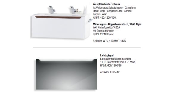 Badmöbel Set mit 120 cm Doppelwaschtisch, Ebenholz Hochglanz Griffleiste