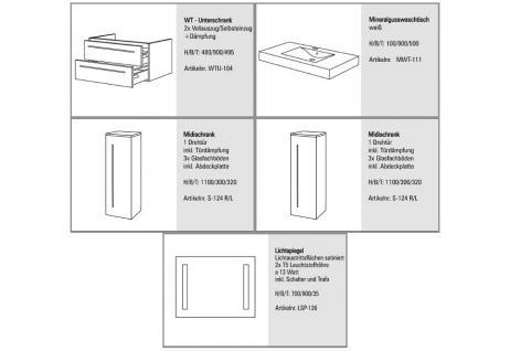 BADMÖBEL SET BADEZIMMERMÖBEL DESIGN BADSET inkl. 90 CM WASCHTISCH + LICHTSPIEGEL - Vorschau 2