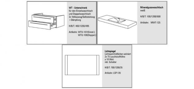 BADMÖBEL SET BADEZIMMER DESIGN BADEZIMMERMÖBEL BADSET MIT 120 CM LICHTSPIEGEL - Vorschau 2