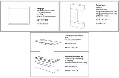 BADMÖBEL SET BADEZIMMERMÖBEL DESIGN BADSET MIT 90 CM LICHTSPIEGEL WASCHBECKEN - Vorschau 2