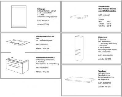 BADMÖBEL SET BADEZIMMERMÖBEL DESIGN BADSET MIT 60 CM LICHTSPIEGEL + WASCHTISCH - Vorschau 2