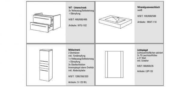 BADMÖBEL SET KOMPLETT DESIGN BADEZIMMERMÖBEL BADSET inkl. 60 CM WASCHBECKEN NEU - Vorschau 2