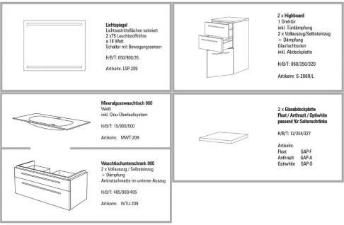 BADMÖBEL SET BADEZIMMERMÖBEL DESIGN BADSET MIT 90 LICHTSPIEGEL + WASCHBECKEN - Vorschau 2