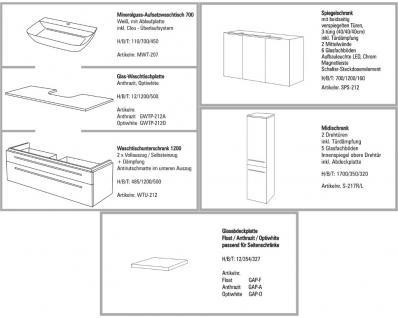 BADMÖBEL SET BADEZIMMERMÖBEL DESIGN BADSET WASCHTISCH + 120 CM SPIEGLESCHRANK - Vorschau 2