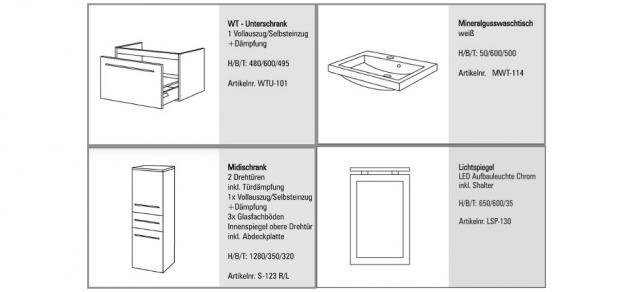 BADMÖBEL SET KOMPLETT BADEZIMMERMÖBEL DESIGN BADSET inkl. 60 CM WASCHTISCH NEU - Vorschau 2