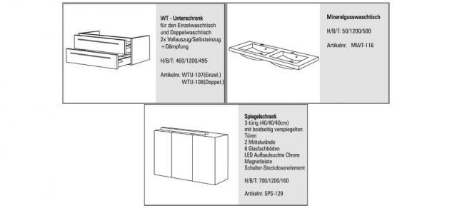 BADMÖBEL SET BADEZIMMERMÖBEL DESIGN BADSET MIT DOPPELWASCHTISCH & SPIEGELSCHRANK - Vorschau 2