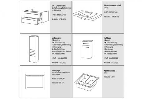 BADMÖBEL SET BADEZIMMERMÖBEL DESIGN BADSET MIT 90 CM LICHTSPIEGEL + WASCHBECKEN - Vorschau 2