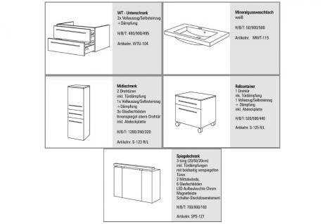 BADMÖBEL SET KOMPLETT BADEZIMMERMÖBEL DESIGN BADSET inkl. 90 CM SPIEGELSCHRANK - Vorschau 2