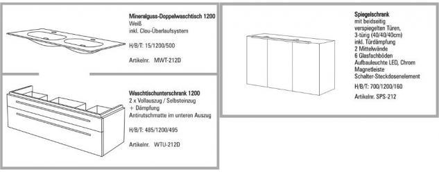 BADMÖBEL SET BADEZIMMERMÖBEL DESIGN BADSET 120 SPIEGLESCHRANK & DOPPELWASCHTISCH - Vorschau 2