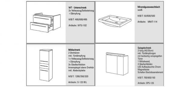 BADMÖBEL SET BADEZIMMERMÖBEL DESIGN BADSET inkl. WASCHTISCH + SPIEGELSCHRANK NEU - Vorschau 2