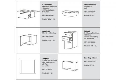 BADMÖBEL SET DESIGN BADEZIMMER BADSET MIT LICHTSPIEGEL KERAMAG 4U WASCHTISCH - Vorschau 2