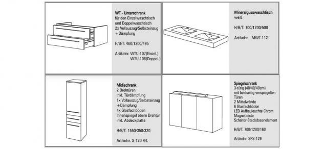 BADMÖBEL SET BADEZIMMERMÖBEL KOMPLETT DESIGN BADSET, DOPPELWASCHTISCH 120CM NEU - Vorschau 2