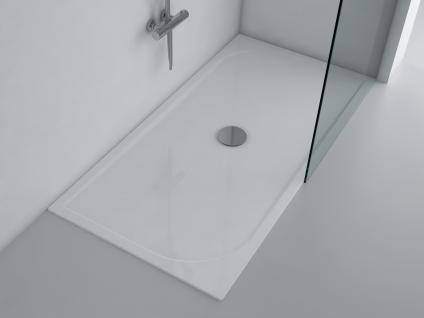 Duschwanne 160x80 cm ANDRIA Mineralguss flach Duschtasse bodengleich inkl. Füße