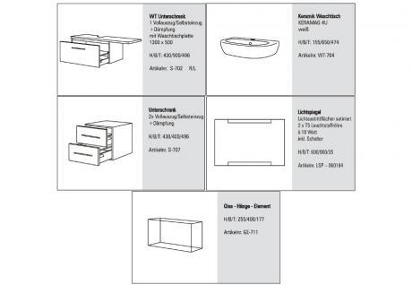 BADMÖBEL SET DESIGN BADEZIMMER BADSET inkl. LICHTSPIEGEL KERAMAG 4U WASCHTISCH - Vorschau 2
