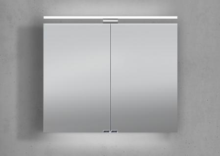 Spiegelschrank 80 cm LED Beleuchtung doppelt verspiegelt