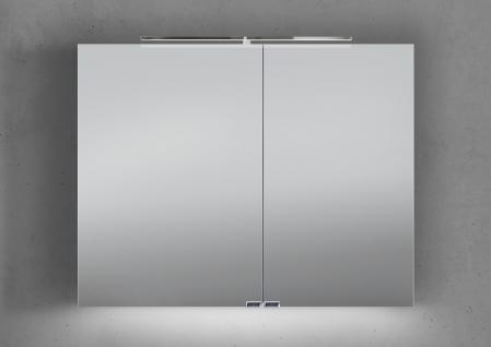 Spiegelschrank Bad 90 cm LED Beleuchtung mit Farbwechsel doppelseitig verspiegelt