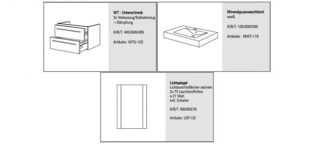 BADMÖBEL SET DESIGN BADEZIMMERMÖBEL BADSET WASCHTISCH & LICHTSPIEGEL 60 CM NEU - Vorschau 2