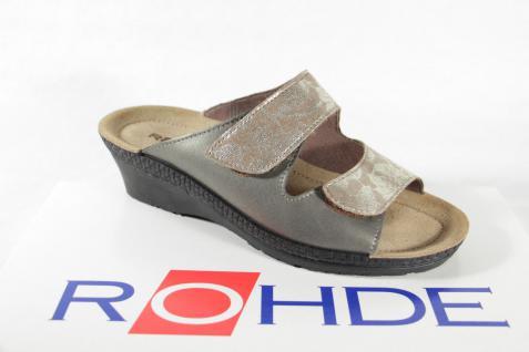 Rohde Pantolette Pantoletten bronze/ beige Leder Lederfußbett NEU!