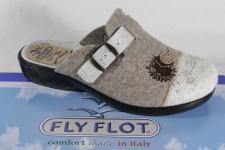 Fly Flot Damen Pantoffel Hausschuhe Pantoletten Filz beige NEU!!