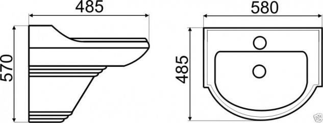 WAND HÄNGE-Waschbecken inkl. Säule KERAMIK Keramik Wc Retro Classic Kr13/Kr14 - Vorschau 2