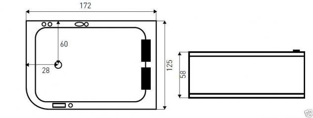 whirlpool indoor badewanne whirlwanne eckwanne spa wanne 170 cm xxl kaufen bei milkando. Black Bedroom Furniture Sets. Home Design Ideas