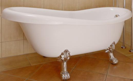 Retro Freistehende Badewanne inkl.Füßen in Chrom Ab-und Überlaufganitur ! - Vorschau 5