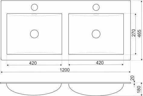 120CM Design Einbauwaschbecken Einbauwaschschale Waschbecken Doppelwaschbecken - Vorschau 2