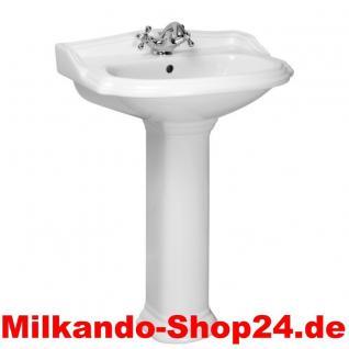 Spülstein Waschbecken Keramik Classic Retro Waschtisch mit Säule58cm