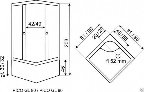 Viertelkreis Dusche Echtglas Duschabtrennung Duschkabine Runddusche Duschwanne G - Vorschau 2