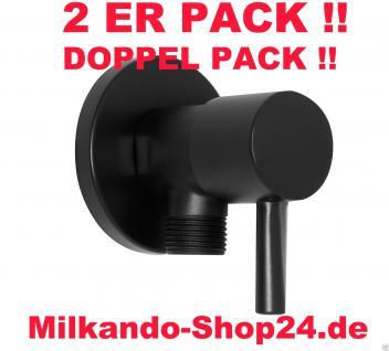 2ER PACK ECKVENTIL 1/2 ZOLL ECKIG RUND WANDROSETTE ZOCZ 1/2 zu 1/2 Zoll Schwarz