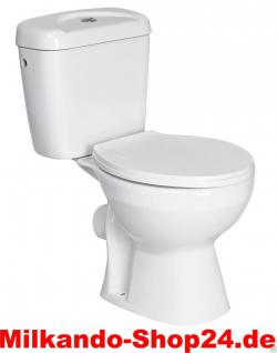 Stand WC Set Toilette bodenstehend Abgang waagerecht Spülkasten Keramik +WC Sitz
