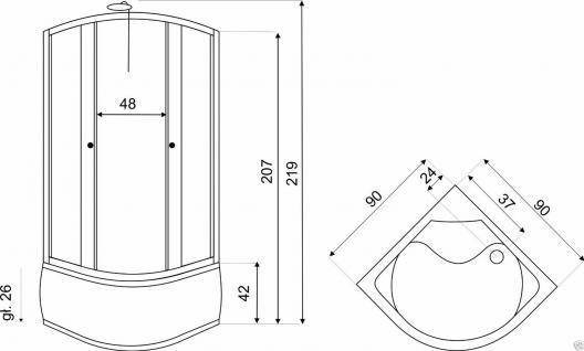 DUSCHTEMPEL FERTIGDUSCHE DUSCHKABINE ECHT GLAS KOMPLETT DUSCHE Wanne 90 cm - Vorschau 2