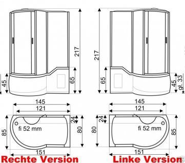 DUSCHTEMPEL FERTIGDUSCHE DUSCHKABINE ECHT GLAS KOMPLETT 151 x 85cm Rechte  - Vorschau 2