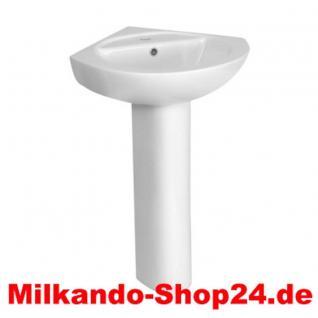 Design Spülstein Waschbecken Keramik Eck Waschbecken Waschtisch inkl. Säule