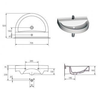 Hänge Waschbecken Keramik + Hänge Wc inkl. Wc Sitz mit absentautomatik Komplett - Vorschau 4
