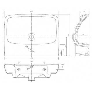 Waschplatz mit Waschbecken WB-Unterschrank Waschtisch Badmöbel + Armatur+Siphon - Vorschau 2