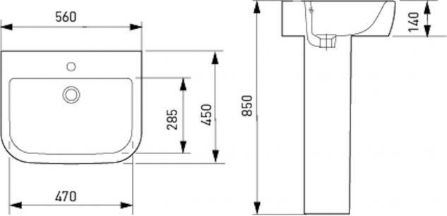 Design Spülstein Waschbecken Keramik Waschtisch inkl. Säule - Vorschau 2