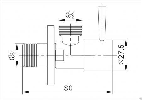 2ER PACK ECKVENTIL 1/2 ZOLL ECKIG RUND + WANDROSETTE ZOCH 1/2 zu 1/2 Zoll - Vorschau 2
