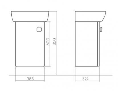 Waschbecken Gäste WC Unterschrank Badmöbel Hochglanz Badezimmer Kollo Pi Möbel - Vorschau 2