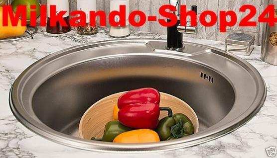 Edelstahl Küchenspüle Rundspüle Waschbecken Einbauspüle Spüle+Zub. Spülbecken - Vorschau 1